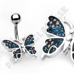 Piercing do pupka - bodkovaný motýlik