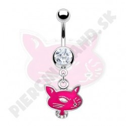 Piercing do pupka - ružová mačička