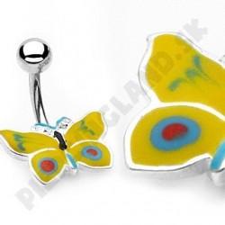 Piercing do pupka - pestrofarebný motýlik