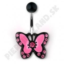 Piercing do pupka - ružový motýlik