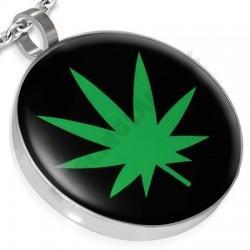 Prívesok z chirurgickej ocele - cannabis